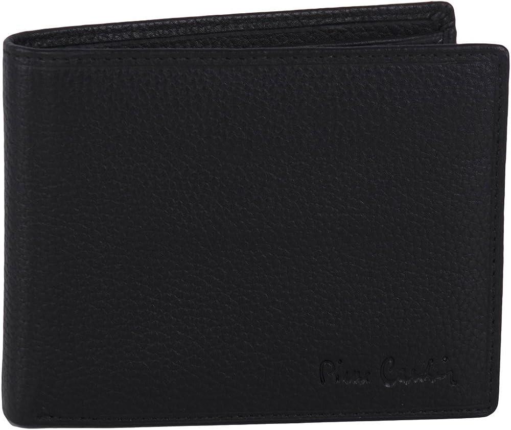 Pierre cardin, portafoglio per uomo,in pelle, con portamonete e patta A5511