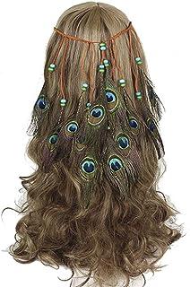 Keliour-hea Sombrero Flor Cintas de Malla Banda para el Pelo de Plumas de Pavo Real Hippie Accesorios para el Cabello étnicos Tocado de Borla Indio Gorros para niñas y Mujeres