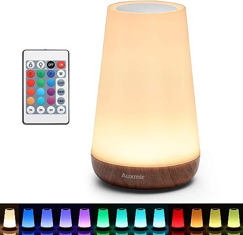 Auxmir Luz Nocturna LED, Lámpara de Mesita de Noche, Iluminación de Ambiente Interior, Control Remoto y Tactil, Tempo...