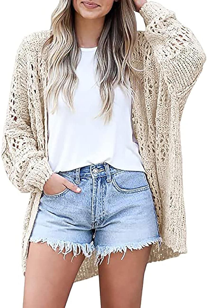 MAYFASEY Women's Crochet Cardigan Kimonos Boho Long Sleeve Lightweight Soft Knit Sweater Oversized Open Front Knitted Tops