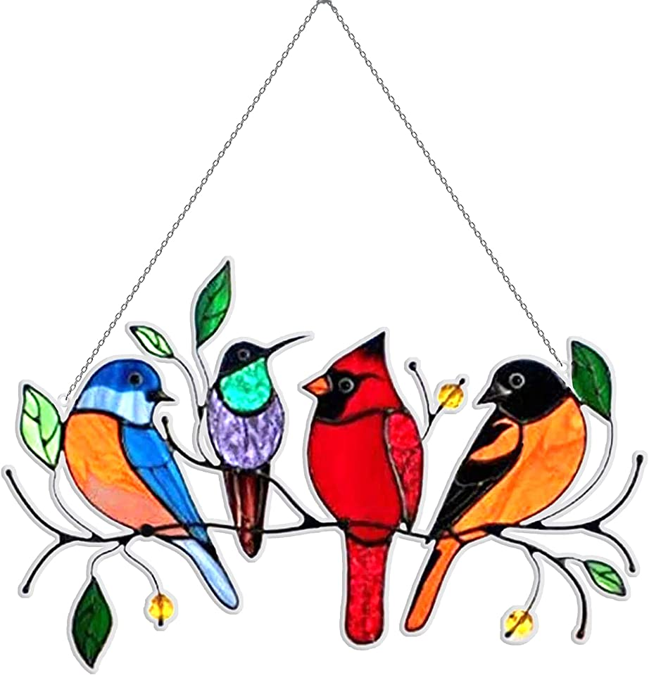 Birds on a Wire Stained Glass, Multicolor Birds on a Wire High Stained Glass