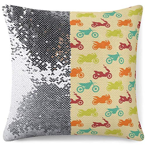 Sequin Pillow Cover - Reversible Mermaid Pillow Cover Colorful Motorcycle Pattern Decorative Cushion Pillow Cases for Chair Couch Bed Sofa