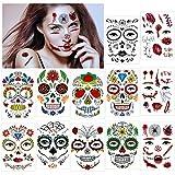 HOWAF Halloween Tatuajes Temporales de Cara,12 hojas Halloween Mascarada Día de los Muertos esqueleto cráneo cara completa tatuajes Pegatinas de maquillaje para Halloween Prop cosplay
