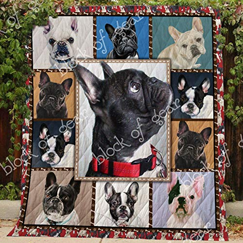 French Bulldog Quilt TH687, Queen All-Season Quilts Comforters with Reversible Cotton King/Queen/Twin Size - Best Decorative Quilts-Unique Quilted for Gifts