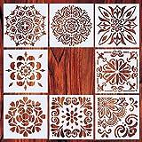Zeagro Mandala Plantillas para pintar Plantillas Reutilizables Plantillas de pintura Láser Plantillas de suelo Pared Azulejos Plástico Muebles Plantillas Set de 8 (6 x 6 pulgadas)