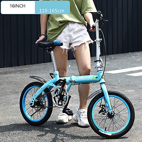 XIAOFEI Bicicletta Pieghevole Bicicletta Ultraleggera Portatile Piccola Bici Lavoro 20 Pollici Adulto Maschio Pieghevole Veloce Leggera Bicicletta Montagna Bicicletta Città,Blu