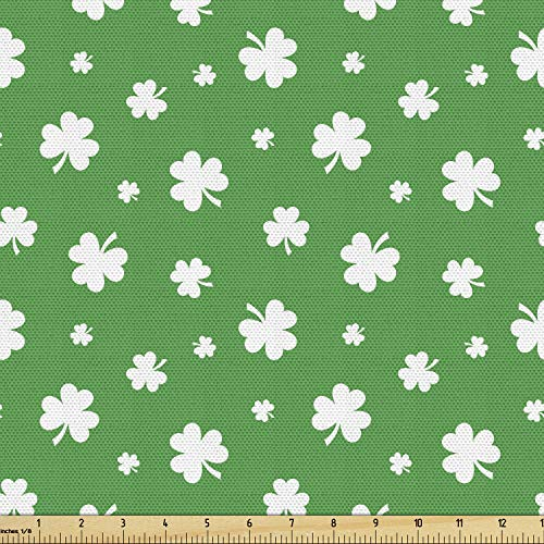 Ambesonne Clover Fabric by The Yard, Simplistic Irish Themed Pattern with Monochrome Shamrock Silhouettes Repetition, Decorative Fabric for Upholstery and Home Accents, 1 Yard, Green White