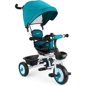 Fascol 4 en 1 Tricycle Bébé Evolutif avec Porte-gobelet pour Enfant de 12 Mois à 5 Ans,Charge Maximale 30 kg (Bleu)
