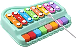 Dollox 2 in 1 Piano Keyboard Xylophone Musical Instruments Learning Toy for Toddler and Baby Boys Girls Age 1-3 Year Old