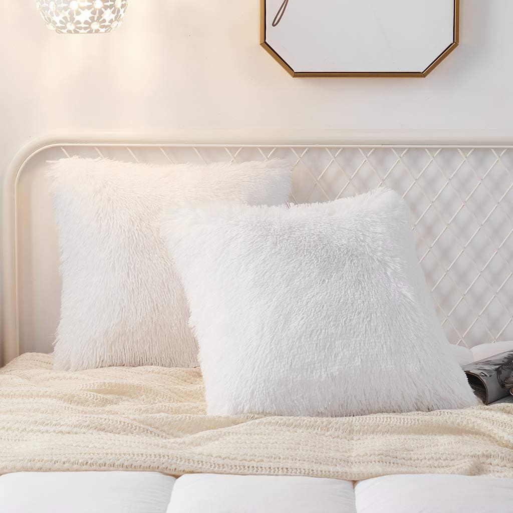 Inexpensive Uhamho Excellent Set of 2 Faux Fur Soft Velvet Throw Covers Decorat Pillow