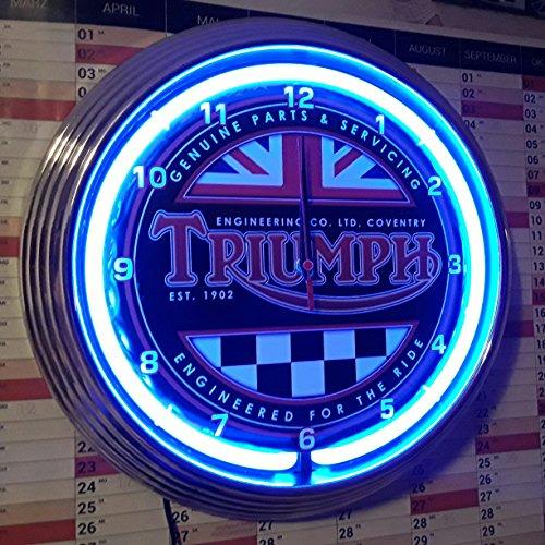 Triumph Energy Est. 1902 Neon Clock - Reloj de pared iluminado con anillos de neón azules.