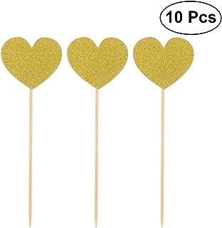 YeahiBaby Cupcake Toppers Corazón Magdalena Cake Topper Alimentos Palillos de Dientes de Tartas para Boda del