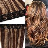 Extensiones de Cabello Natural Clip Postizos Pelo Humano (Una Pieza 5 Clips) 100% Remy Human Hair - 20'/50CM #4/27 Marrón Medio/Rubio Oscuro