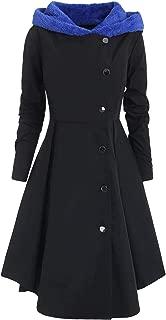 Winter Plus Size Asymmetric Fleece Contrast Hooded Skirted Coat Women Coat Single Breasted Color Block Long Outwear Coats