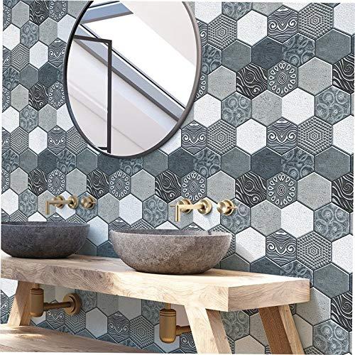Vinilo adhesivo para pared con diseño vintage en 3D, impermeable, autoadhesivo, para el hogar, la cocina, el cuarto de baño