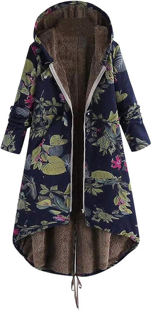 Holzkary Womens Fuzzy Faux-Fleece Coat Warm Winter Fashion Print Zip Up Outwear Oversized Jackets