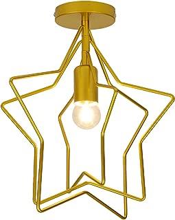 Semi Flush Mount Ceiling Light,Modern Star Decoration Pendant Light Ceiling Lamp Rotatable Star Frame Geometric Metal Light Fixture Perfect for Hallway Stairway Bedroom Kitchen,Gold