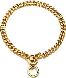 Abaxaca Adjustable 18K Gold Dog Collar Slip Choker Stianless Steel 15mm Big Dog Puppy Necklace Choke Chain Training Collar Cuban Link for Big Small Dog S/M/L (S, Gold Adjustable)