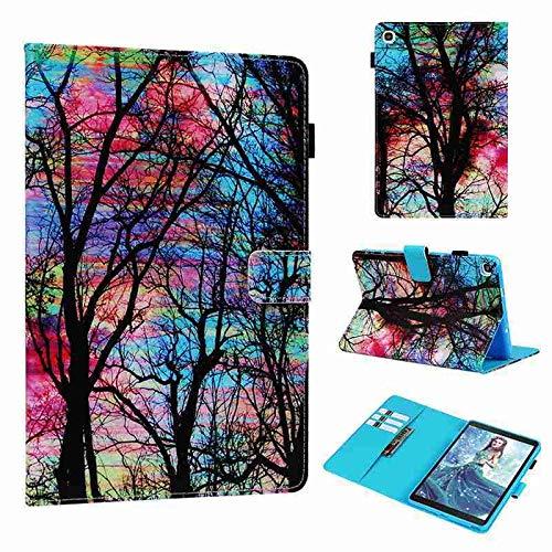 QiuKui - Funda de piel para Samsung Galaxy Tab A8 P200, soporte para Galaxy Tab A 7.0 T280 Tab A 8.0 T380 T350 Tab E 8.0 T375 Tab A 9.7 (color: árbol colorido, tamaño: Tab A 7.0 T280 T285)