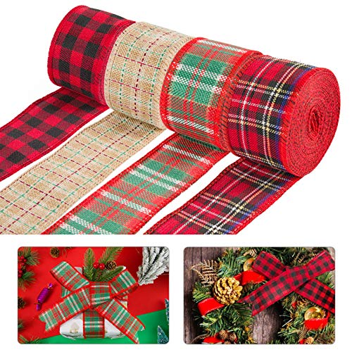 4Pcs Red Christmas Burlap Ribbon Roll- 6.5 Yards 1.97'' Wide Buffalo Plaid Wired Edge Weave Ribbon Gift Wrapping Ribbon for Xmas Wreath Decor Rustic DIY Crafts Ribbon Floral Bows Fall Christmas Trims
