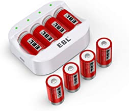 EBL CR123A Batteries 750mAh (8 Pack) and Battery Charger - Compatible with Arlo VMC3030 VMK3200 VMS3330 3430 3530 Wireless Security Cameras