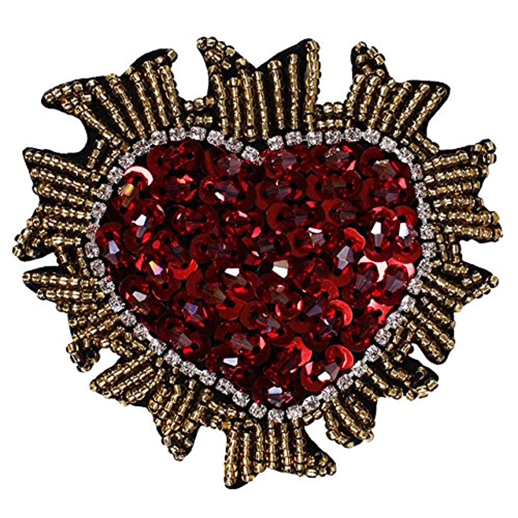 1pieces Handmade Beaded Sequin Crystal Heart Design Patches Badge Applique Clothing Bags Decorated Sewing Accessories TH575