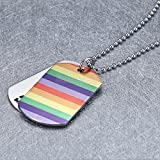 SLB Works Lesbian Gay Pride Letters Rainbow Flag Pendant Necklace Dog Tag Jewelry
