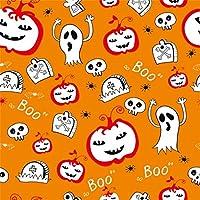 Qinunipoto 背景布 ハロウィン happy halloween オレンジ色の背景 かぼちゃ ゴースト 墓石 くも 撮影用 写真撮影用 スタジオのプロ背景幕 デコレーション 写真ブース撮影 写真の背景 背景幕 ビニール 3x3m