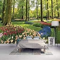 ranyan 3D壁壁画モダンパーク風景森花チューリップ壁紙リビングルームテレビソファ背景壁3Dフレスコ画-200x140cm