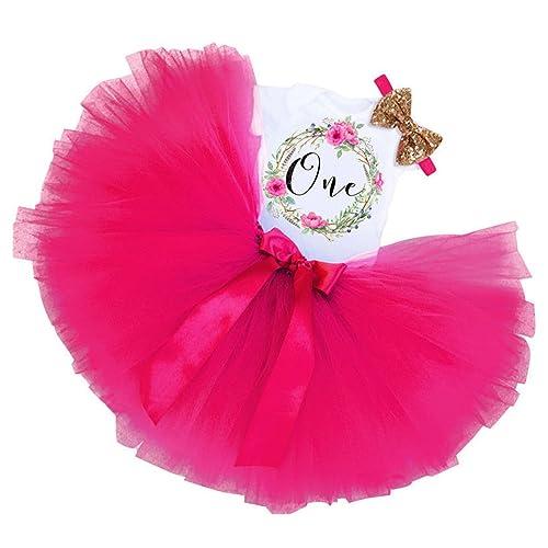 c55c59bed FUNOC 3PCs Baby Girls 1st Birthday Tutu Onesie Skirt Dress Headband Outfit