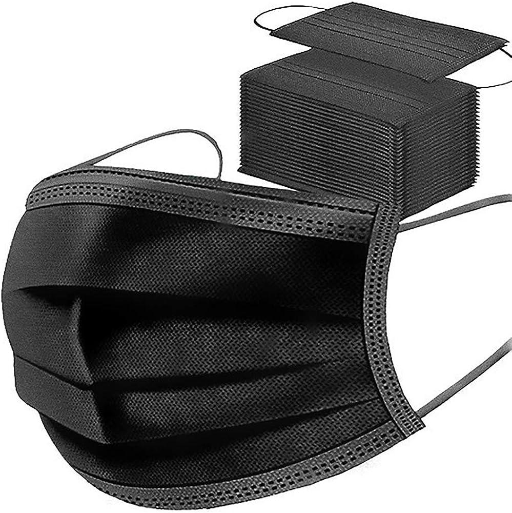 Langten -50 piezas, con ganchos elásticos para los oídos, almohadilla de protección sanitaria de filtro oral de 3 capas, tela no tejida para garantizar una ventilación segura (negro)