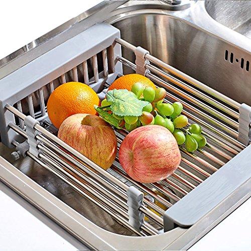 WENZHE Etagère De Cuisine Rangement Etagère D'angle Panier De Vidange Évier Multifonction Réglable Acier Inoxydable Monocouche,37/55.5 * 23 * 9cm