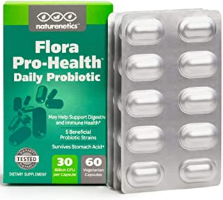 Probiotics for Women and Men on The Go – Flora Pro-Health, High Strength Probiotic Supplement – 30 Billion CFU Per Capsule – Sugar, Soy, Dairy, Gluten Free – Vegan – with Acidophilus – 60-Day Supply