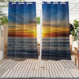 DONEECKL Ocean Outdoor Balcony Curtain Sunset Over Pacific Ocean from La Jolla California Sun Rays Colored Sky Photo Print Gazebo W63 x L63 inch Orange Blue