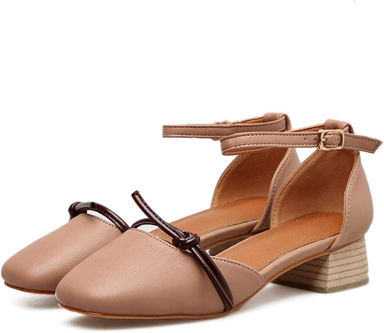 Juvenile shoulder Women Summer Korea Cute 5cm Low Heels Sandals Round Toe Casual Sandals Sweet Retro shoes