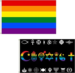 SSK Gay Pride Rainbow + Coexist Outdoor Flag Combo Pack - 2 Great Flags for 1 Great Price! Large 3' x 5', Weather-Resistant Polyester