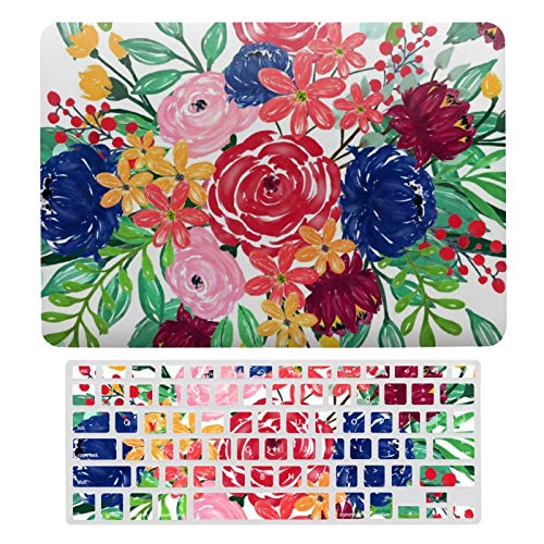 Plastic Hard Shell Case & Keyboard Cover Compatible with MacBook Air 13 (Models: A1466、A1369), Navy Blue And Red Watercolor Boho Chic Flowers-69 Laptop Keyboard Membrane Protective Shell Set