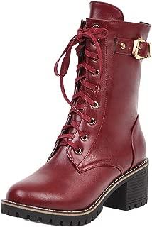 TAOFFEN Women Mid Heels Autumn Booties with Zipper