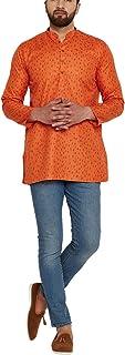 Sojanya (Since 1958) Men's Orange Cotton Linen PRINTED Short Kurta