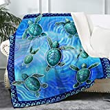 """Bonsai Tree Turtle Blanket, Funny Sea Turtles Fuzzy Soft Cozy Warm Sherpa Throw Blanket for Women Adult, Thick Ocean Beach Blue Crystal Velvet Blanket for Couch Bed Living Room, 50""""x60"""""""
