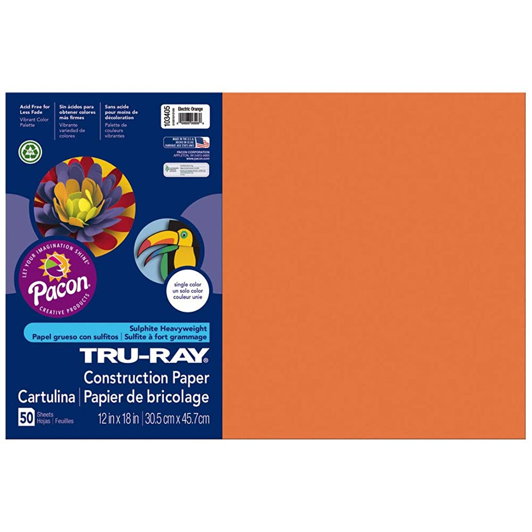 Tru-Ray Heavyweight Construction Paper, Electric Orange,  12