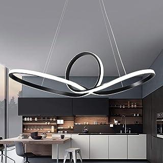 Modern colgante LED–Lámpara salón dormitorio Negro Aluminio Colgante Diseño Curvo lámpara techo acrílico lámpara de pantalla creativos decorativa iluminación interior luz blanco 6000K Ø60cm