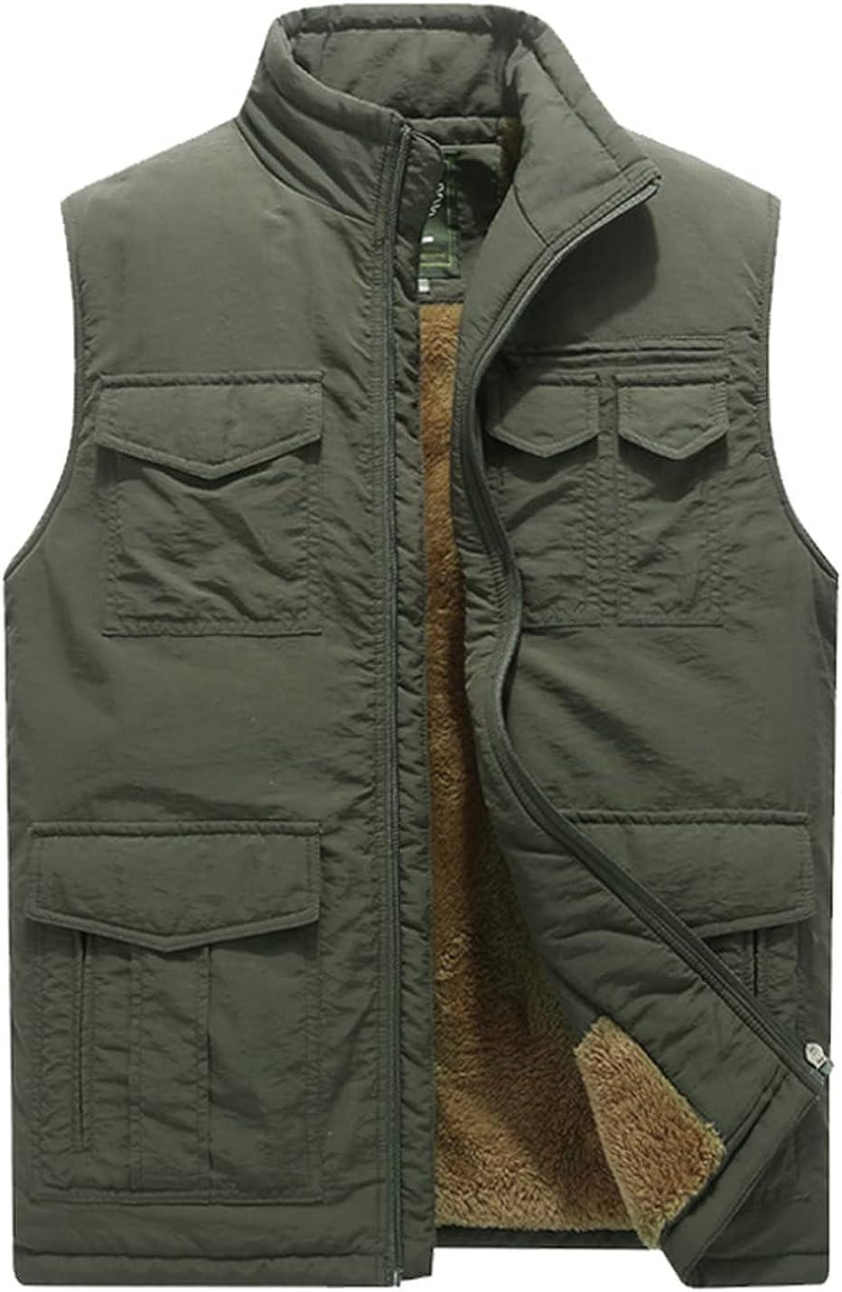 Kissonic Cheap SALE Start Men's Cheap bargain Winter Thicken Fleece Warm Vest Sleeveless Lined
