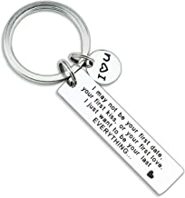 I May Not Be Your First Keychain Girlfriend Keychain Engraved I May Not Be Your First Date Keychain Couples Love Lettering Keyring Valentines Day Birthday Gifts for Him and Her (More Versions)