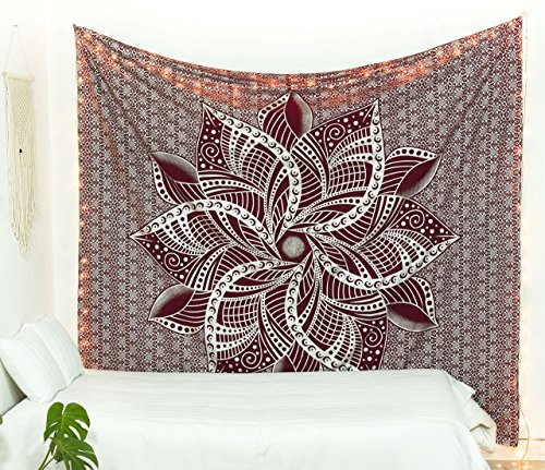 Popular Handicrafts Kp925 Wandteppich mit großem Mond-Ombre-Motiv, indisches Mandala, Wandkunst, Hippie-Wandbehang, Bohemian-Tagesdecke, Mehrzweck-Wandteppich, Kastanienbraun & Silber