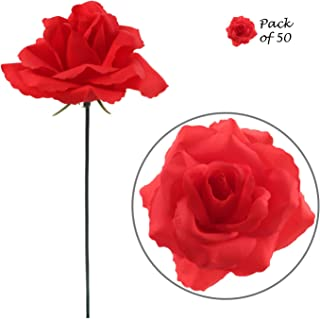 Larksilk Artificial Flowers 50 Pcs Bulk Wholesale Red Silk Rose Picks with Flexible 8