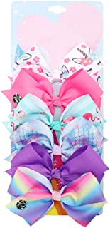 YJ Premiums Hair Bows, JoJo bows for Girls Bundle Set, Pack of 6- JoJo Signature Collection Hair Bows with Unicorn and Rainbow Patterns- Bows Clips For Little Girls, Toddlers & Kids