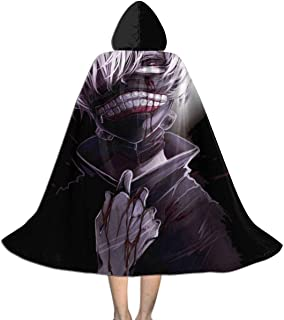 RJ5nrusfwtba Tokyo Ghoul Ken Kaneki Unisex Kids Hooded Cloak Cape Halloween Xmas Party Decoration Role Cosplay Costumes Black