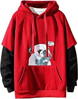 LENXH Men's Solid Color Printed Hooded Sweater Casual Autumn and Winter Pullover Drawstring Hooded Sweater