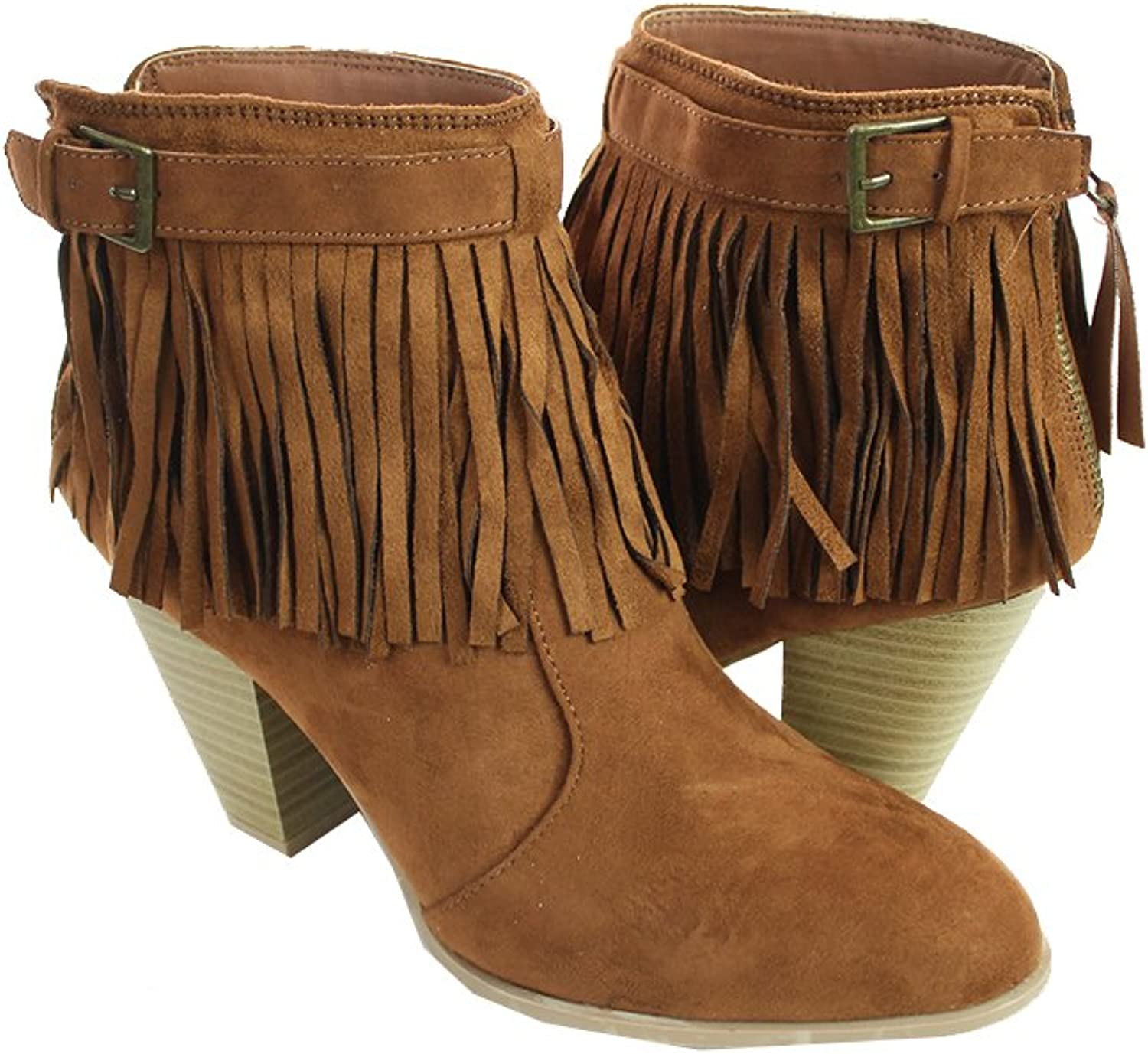 OTFL Qupid Womens Faux Suede Fringe Buckle Bootie Dark Rust 6.5